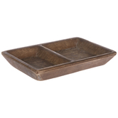 Brown Distressed Divided Wood Tray