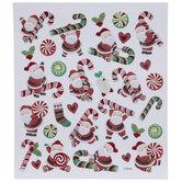 Santa & Candy Cane Glitter Stickers