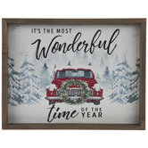 Wonderful Time Truck In Snow Wood Wall Decor