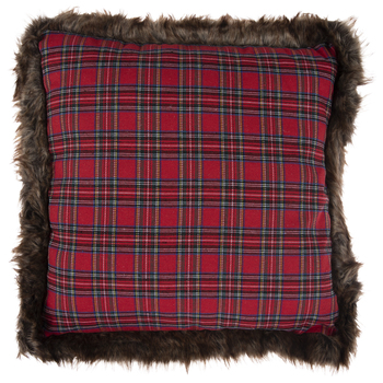 Red Plaid Pillow With Brown Faux Fur