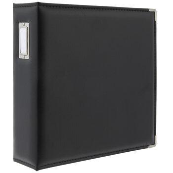 """Black Vinyl 3-Ring Scrapbook Album - 8 1/2"""" x 11"""""""