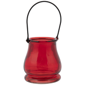 Red Glass Candle Holder With Wire Handle