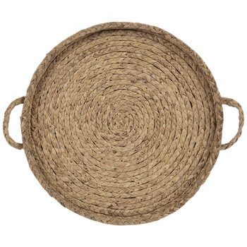 Beige Round Woven Tray Wall Decor