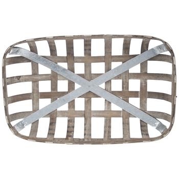 Distressed Brown Wood Tobacco Basket