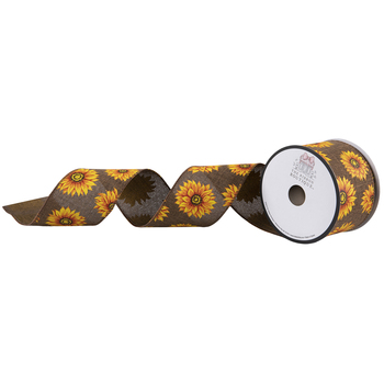 """Sunflowers Wired Edge Burlap Ribbon - 2 1/2"""""""