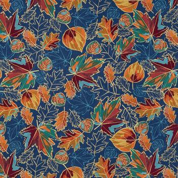 Multi-Color Leaves Cotton Fabric