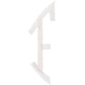 White Circular Monogram Iron-On Left Letter F - 1 3/4""