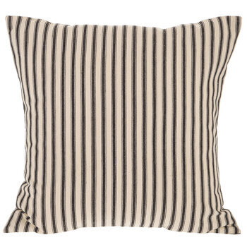 Black & Cream Ticking Striped Pillow Cover