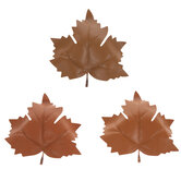 Brown Faux Leather Leaves