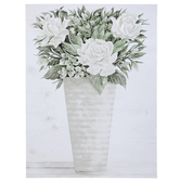 White Flower Vase Canvas Wall Decor