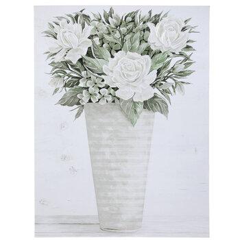 White Flower Vase Canvas Wall Decor