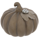 Gold Pumpkin With Pearl Button & Leaf