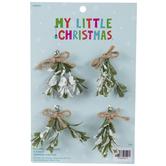 Mini Flocked Mistletoe Ornaments