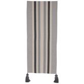 Gray & Cream Striped Table Runner