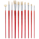Natural Taklon Oil & Acrylic Long Handle Paint Brushes - 10 Piece Set
