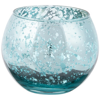 Blue Roly Poly Mercury Glass Candle Holder