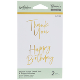 Stylish Script Thank You & Happy Birthday Glimmer Hot Foil Plates