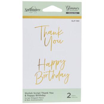 Stylish Script Thank You & Happy Birthday Glimmer Hot Foil Plates
