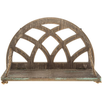 Arched Wood Wall Shelf with Rope