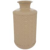 Cream Leaves Embossed Metal Vase