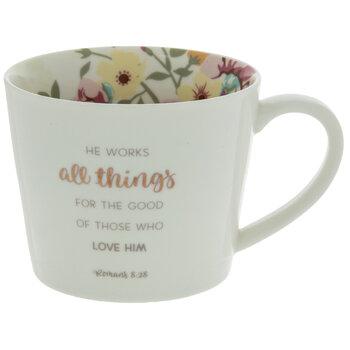 Romans 8:28 Floral Coffee Mug