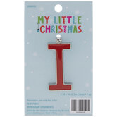 Mini Red Enamel Letter Ornament - I