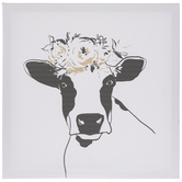 Cow With Floral Crown Canvas Wall Decor
