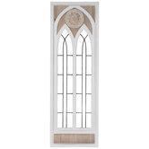 Whitewash Cathedral Window Wood Wall Decor