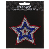 Patriotic Star Rhinestone Iron-On Applique
