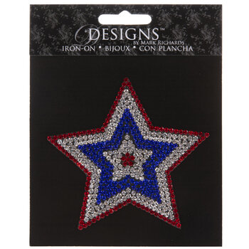 Patriotic Star Rhinestone Iron-On Applique