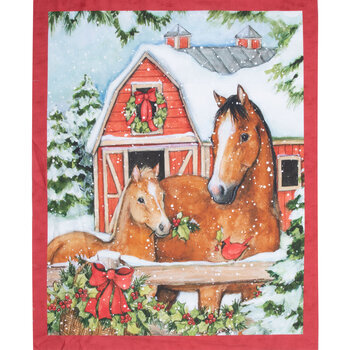 Snowy Horses Panel Cotton Fabric