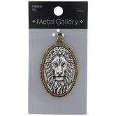 Ornate Lion Head Oval Pendant