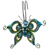 Blue Butterfly Metal Pot Percher