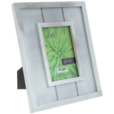 Distressed White Slatted Wood Frame
