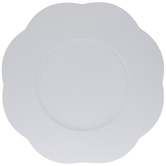 White Scalloped Wood Plate Charger