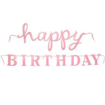 Pink Glitter Happy Birthday Banner