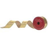 "Gold Metallic Wired Edge Ribbon - 1 1/2"""