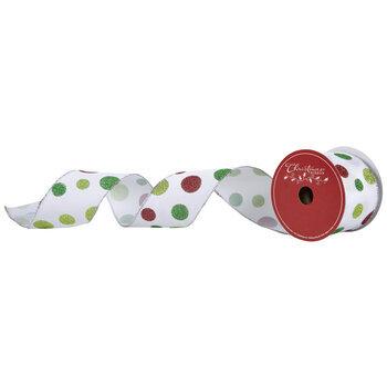 "Red & Green Glitter Polka Dot Wired Edge Ribbon - 2 1/2"""