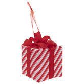 Red & White Striped Present Ornaments