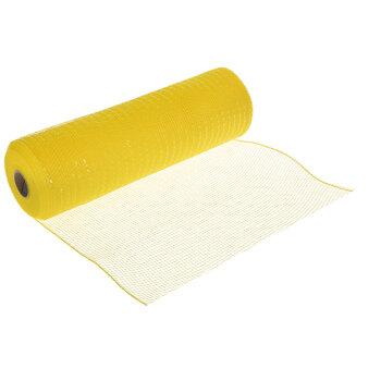 "Yellow Metallic Deco Mesh Ribbon - 10"""