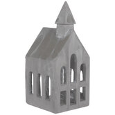Gray Church Cement Candle Holder