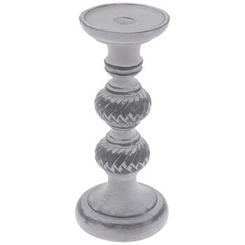 Distressed Gray & White Candle Holder