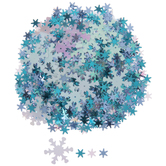 Iridescent White & Blue Snowflakes Sequins