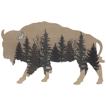 Bison Forest Silhouette Wood Wall Decor