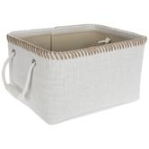White With Tan Stitching Basket - Large