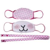 Plaid & Bunny Kids Face Masks & Lanyard