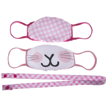 Plaid & Bunny Kids Face Masks & Lanyard