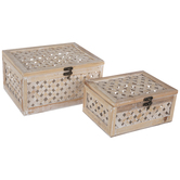 Beige & White Woven Wood Trunk Box Set