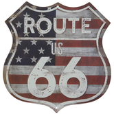 Route 66 American Flag Metal Sign