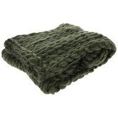 Dark Green Braided Throw Blanket